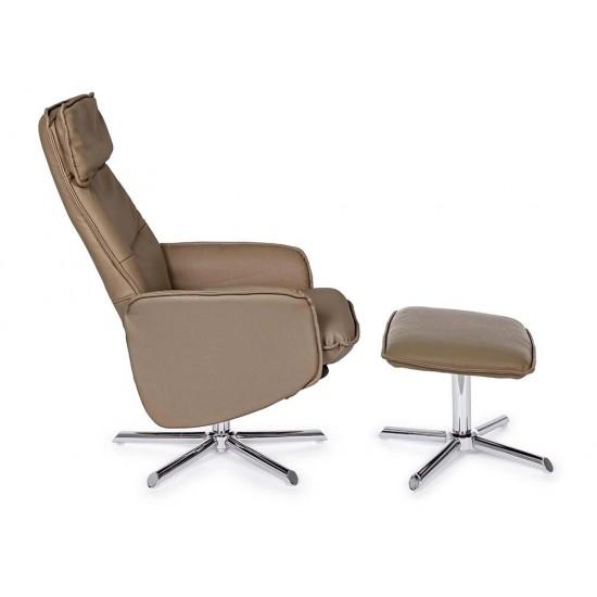 Fotoliu recliner de relaxare cu taburet Faro, piele ecologica