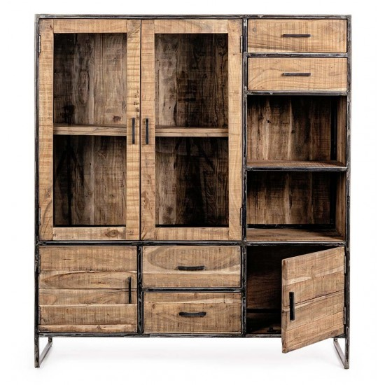 Comoda inalta cu sertare si usi din lemn de acacia Aalborg