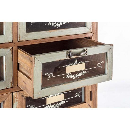 Comoda inalta vintage cu sertare si usi Estevan