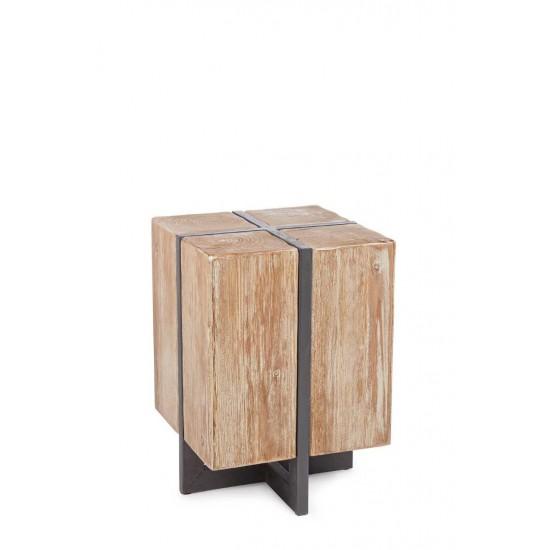 Taburet modern din lemn si metal Nantes